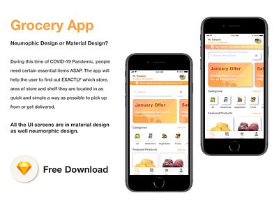 Grocery App - Free Download design grocery free download freebie sketch ux ui mobile app mobile ui grocery app sketch freebie