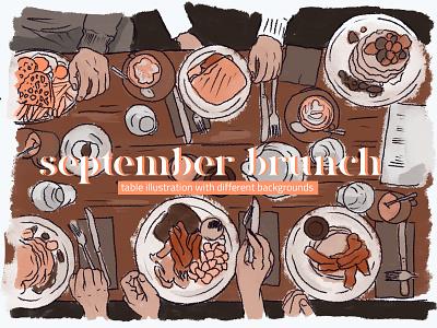September Brunch Mini Illustration Pack branding ui digital painting creative market restaurant clipart illustration