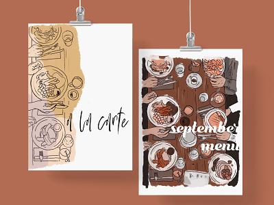 September Brunch Mini Illustration Pack restaurant ui digital painting creative market clipart illustration