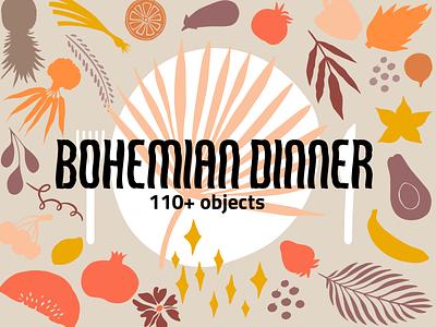 Bohemian Dinner Vector Set menu fruit vegetables digital painting creative market vector set pattern clipart illustration