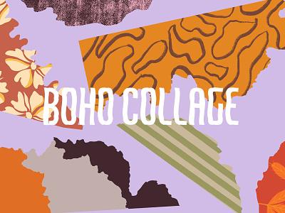 Boho Collage Object & Pattern Set branding design seamless abstract digital painting creative market set pattern clipart illustration
