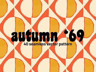 Autumn '69 Retro Vector Pattern Set vintage retro swinging sixties 60s 70s vector creative market set pattern clipart illustration
