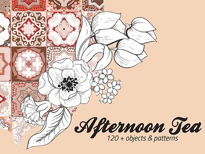 Afternoon Tea Floral&Tile Vector Set elegant tiles digital painting vector creative market set pattern floral clipart illustration