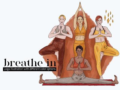 Breathe In Watercolor Illustration women yoga studio meditation yoga digital painting creative market set clipart illustration