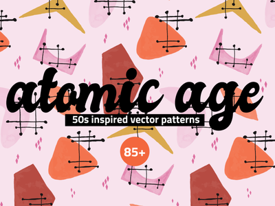 Atomic Age Watercolor Patterns atomic age vintage retro 50s abstract vector creative market set pattern floral clipart illustration