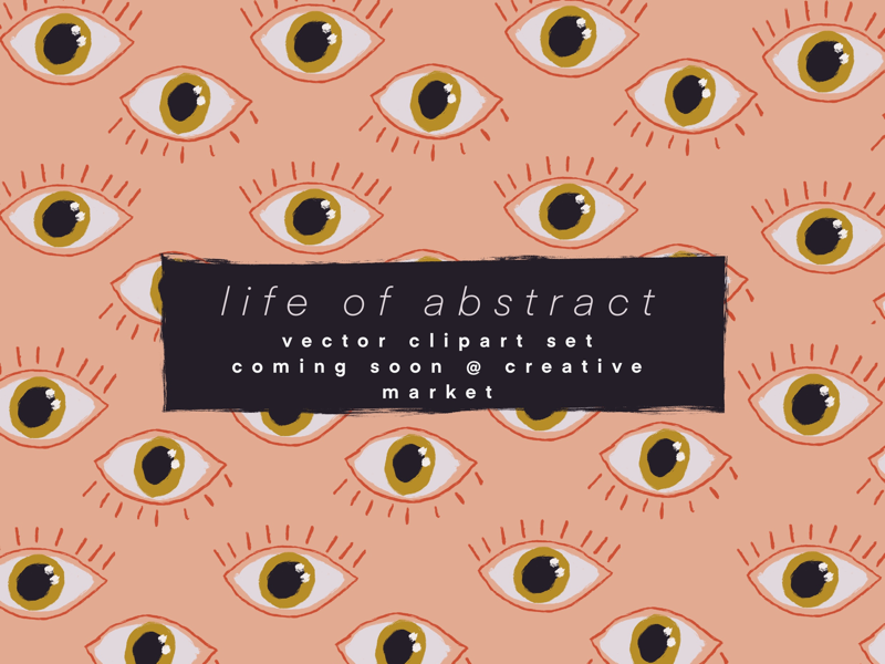 Life of Abstract - Vector Clipart Set illustration drawn hand geometric floral eyes abstract lifestyle set clipart vector