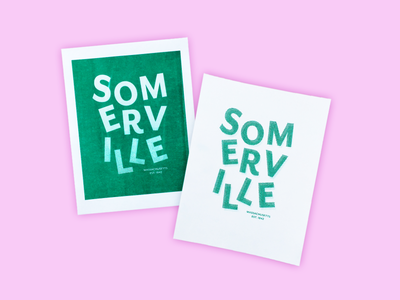Somerville Risograph Prints printmaking riso risograph massachusetts somerville print flat illustrator typography illustration design