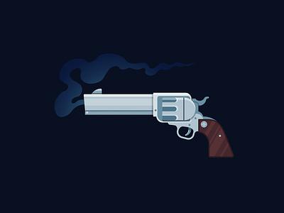 Colt Revolver flat illustration design western gun vector revolver