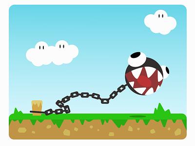 Chain Ball mario bros chain ball adobeillustrator adobe adobe illustrator illustration flat design vector