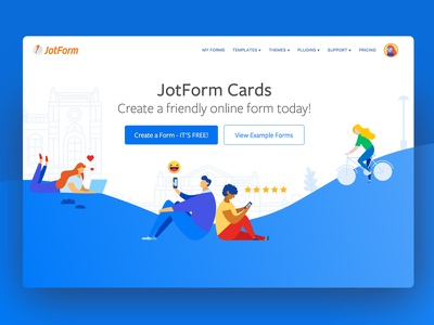 Cards by JotForm gradient form flat form import form create a form create form design homepage cards jotform
