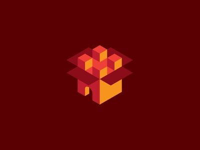 Logo moving company logo house castle chateau box moving 3d open cube cubes movingbox