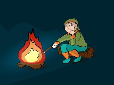 A quiet campfire