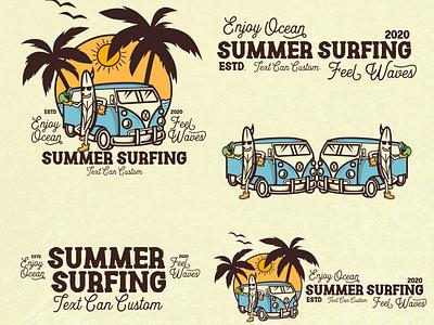 SUMMER SURFING | VINTAGE BUNDLE DESIGN t-shirt design t-shrit skate retro design bundle bundle design vintage design surf surfing typography logo vector design branding illustration lettering