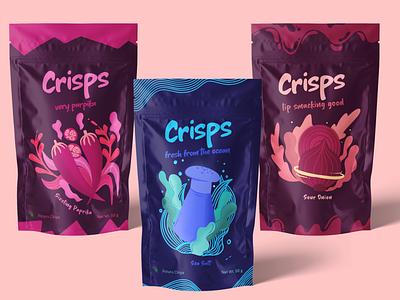 Potato Chips Packaging crisp crisps potato chips cihps illustration art illustrations illustration branding design brand design brand packagedesign package design packaging design packaging package branding