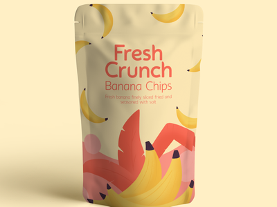 Packaging Design for a Banana Chip Brand illustration fruit illustration food illustration chips fresh elements design packaging design package design packagedesign packaging packages package branding concept branding design brand identity brand design branding brand