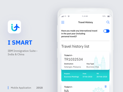 I SMART - An application for IBMers immigration. icon interaction india ui ux application graphic design logo design branding