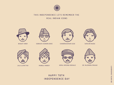 INDIAN ICONS design subhas chandra bose bhagat singh illustration characters fighters freedom icons day independence india