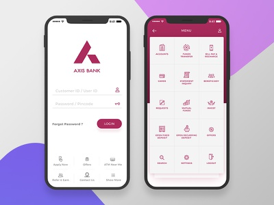 Axis Banking Mobile App axis bank iphone x ios menu login ui application mobile bank