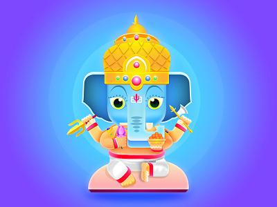 Lord Ganesha character design festival design graphic illustration elephant indian god lord ganesha ganesh