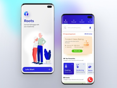 Roots Mobile app love ones engage connect old age roots mobile branding icon interaction application ux illustration ui design