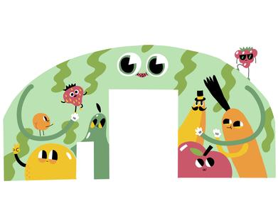 Group Hug illustration mural design characterdesign