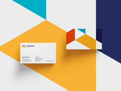 Tracktion business card card business platform traction brand colorful identity branding logo minimal