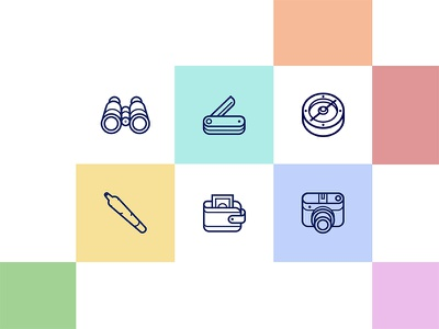 Adventure icons flat linear outline adventure illustration colorful pastels icon