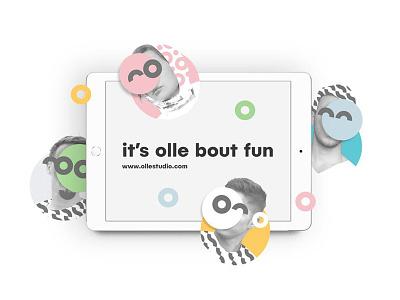 Ollestudio logo pattern collage webdesign branding colorful minimal fun design