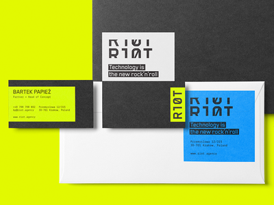 Riot Branding identity colors versatile stationery minimal agency technology branding logo