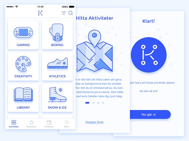 Onboarding and Category screens for event finder app kulimalmö sweden malmö app eventfinder icon logo branding rebranding activity category onboarding