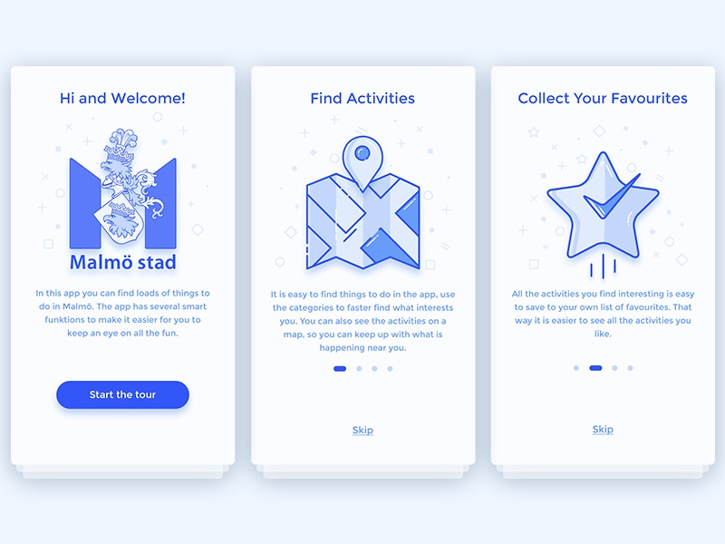Onboarding for event finder app - part 1 icondesign ui activity malmö event kulimalmö redesign icon design onboarding