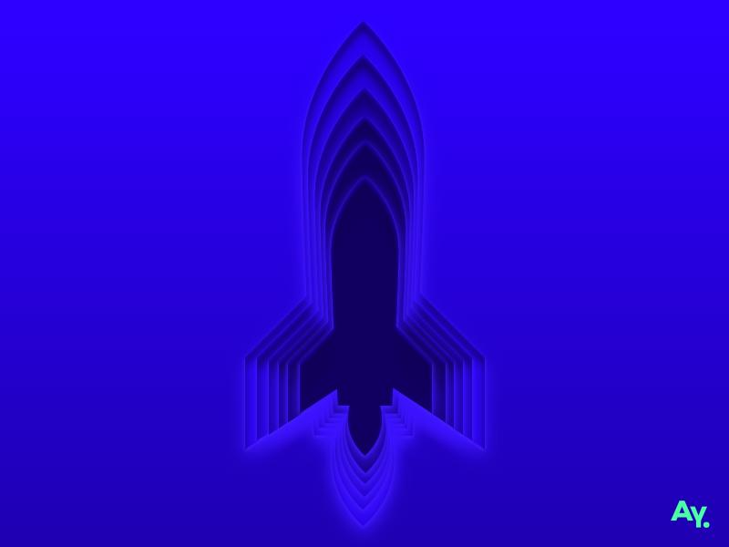 Layers - Rocket hatehashtags digital concept clouds rockets cutout blue