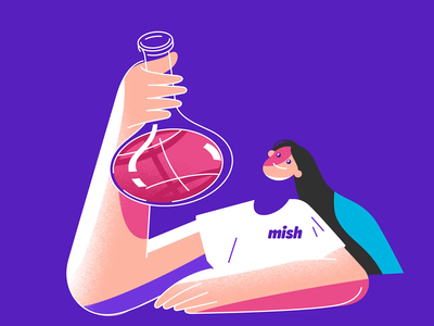 Hello dribbble! We're Mish! design laboratory chemistry magic animation procreate affinitydesigner logo web app ux ui branding illustration
