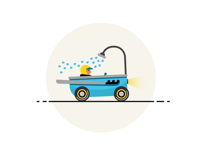 logo for the bathroom furniture shop logotype drops blue shower speed bath driver man car logo