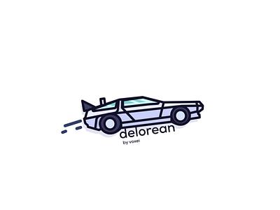 delorean delorean voxei vector minimal logo illustration icon flat design