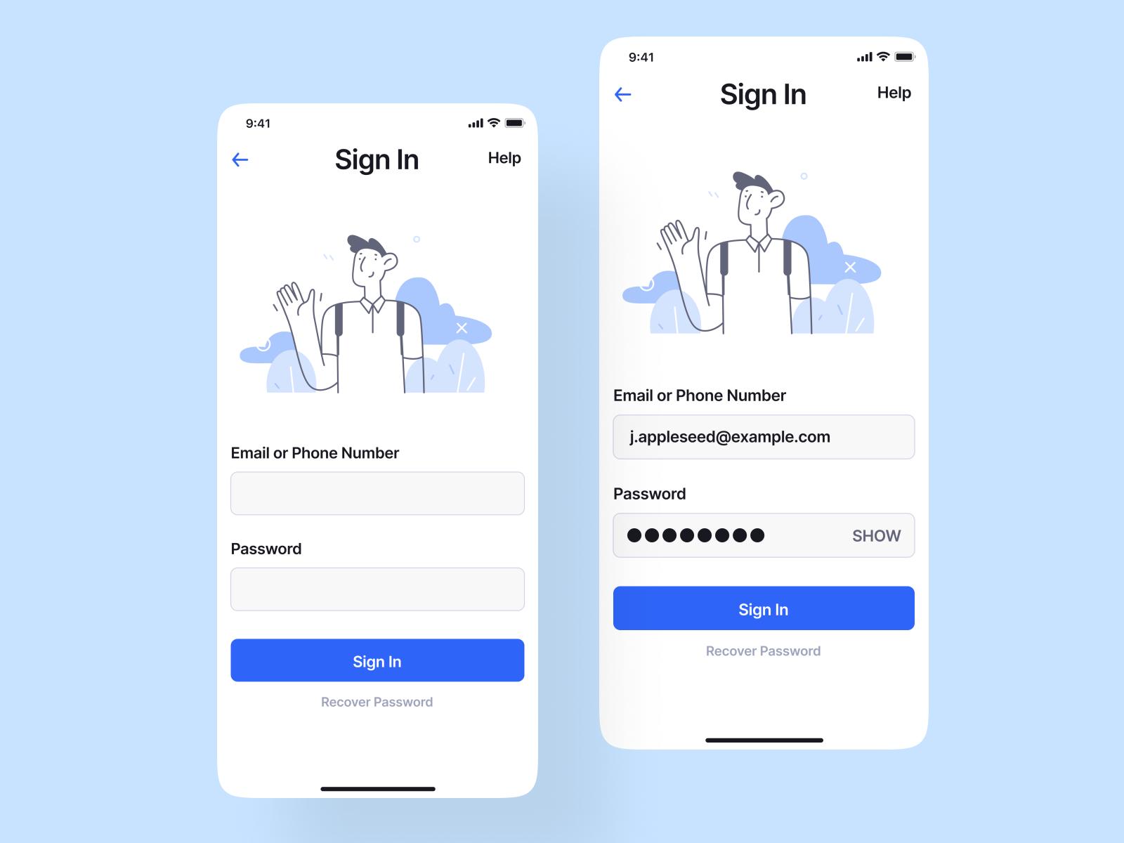 Sign In / Show Password