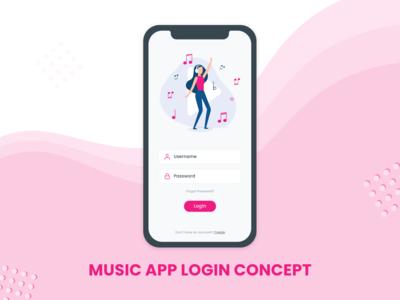 Music App Login Concept