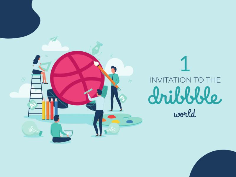 Dribbble Invitation illustration creative process giveaway invitation invite