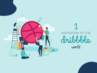 Dribbble Invitation illustration creative process giveaway invitation invite