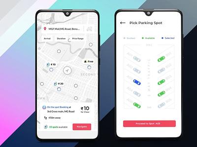 Parking App appdesign ondeamdbike androidapp design ui ux android app app designing b2cinfosolutions app development