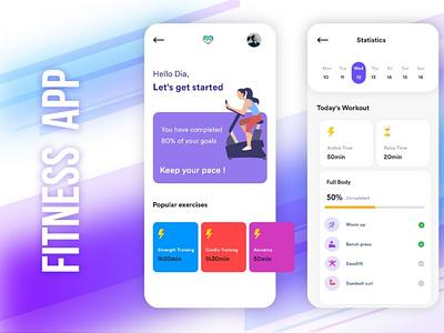 Fitness App illustration ui ux branding app designing android app b2cinfosolutions app development