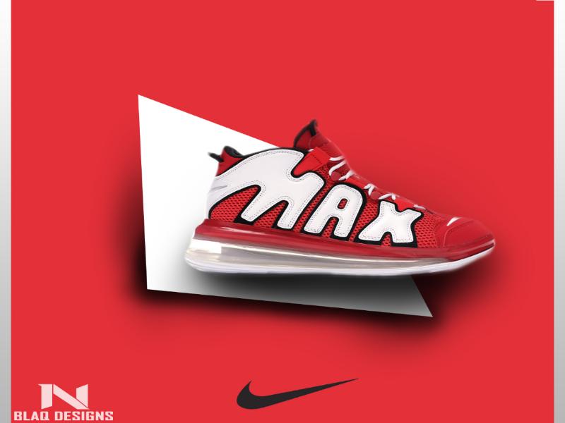 Nike More uptempo Ad Concept shoes advertising ad nike print poster photoshop minimal illustration graphicdesign graphic design flat digital design concept branding brand black artwork art