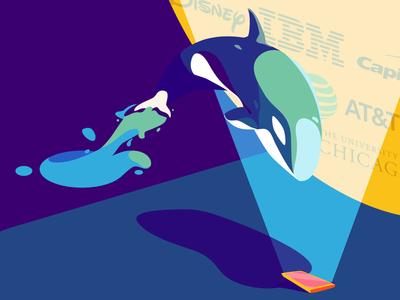 Clients Illustration - UX4Sight vector art direction illustration design blue sea orca logos clients