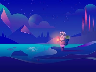 Sleepa - Hero Illustration art blue design character art direction vector sleep illustration animated