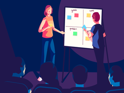 UX4Sight - UX Training audience presentation art direction vector character design illustration training stage group