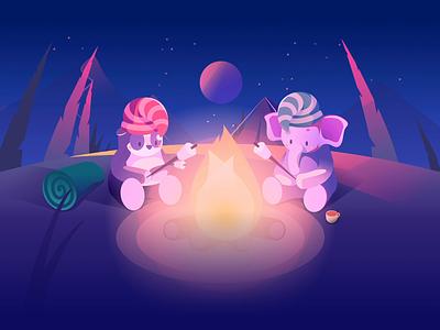 Sleepa - Campfire Illustration cozy night vector illustration art direction elephant panda cute campfire character design