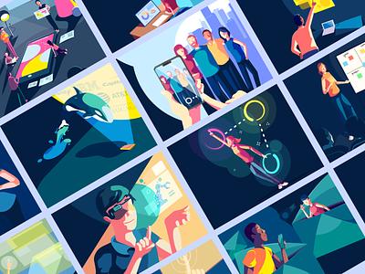 UX4Sight - Web Illustrations people art direction vector hero area web illustrations branding illustration character design