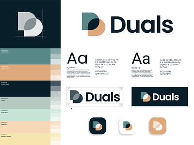 Duals - Logo Styleguide design pastel language communication d symbol logo branding