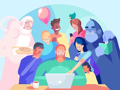 Teamwork - Illustration Kit working astronaut pizza monkey playful character design art direction saas kit illustration