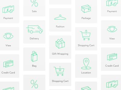 Icon Set E-Commerce minimal flat website web ux ui vector icon app